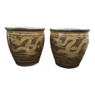 Asian Dragon Egg Pot Planter With Turquoise Interior - a Pair For Sale
