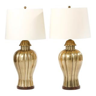 Mid 20th Century Brass Pair Table Lamps / Wood Base For Sale