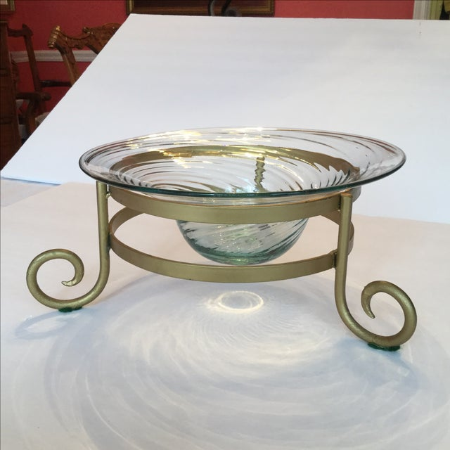 Gold Art Glass Bowl For Sale - Image 8 of 11