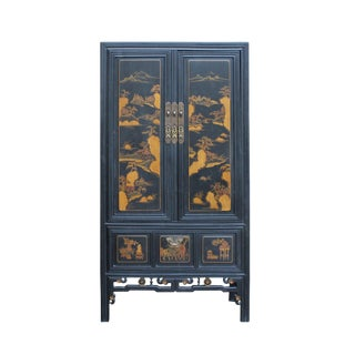 Chinese Fujian Golden Mountian Water Graphic Tall Armoire Cabinet For Sale