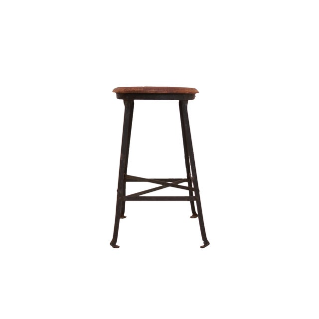 1940s Industrial Stool with Oak Seat - Image 2 of 3
