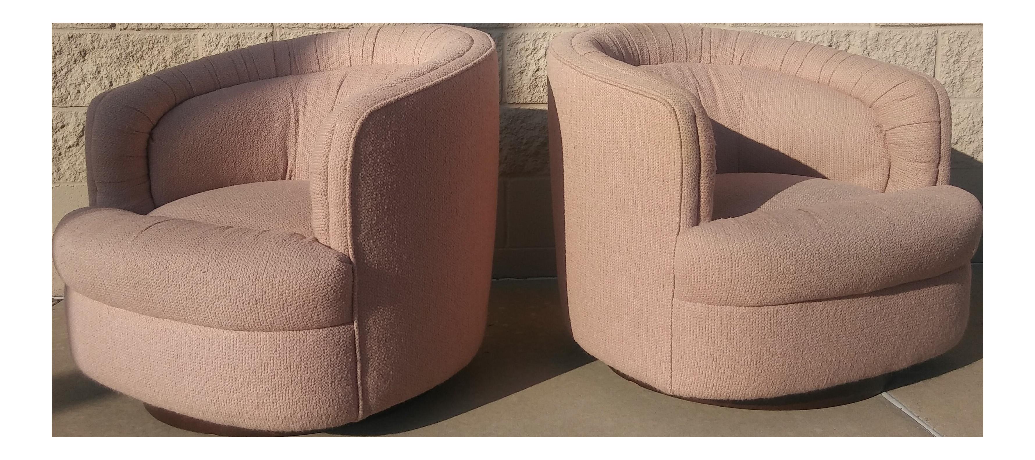 Milo Baughman Style Swivel Tub Chairs   A Pair