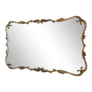 Vintage Art Nouveau Oversized Brass + Rust Mirror For Sale