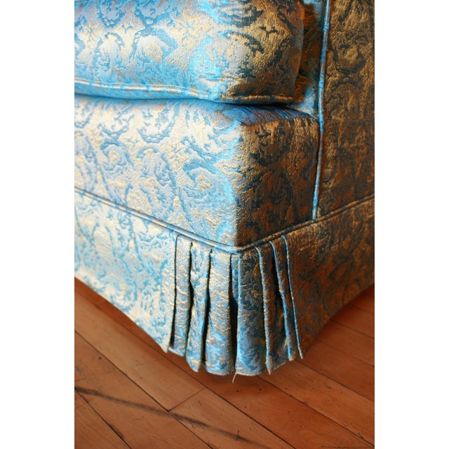 Blue Blue and Gold Tufted Sofa by Howard Palmer for Harmony House For Sale - Image 8 of 11