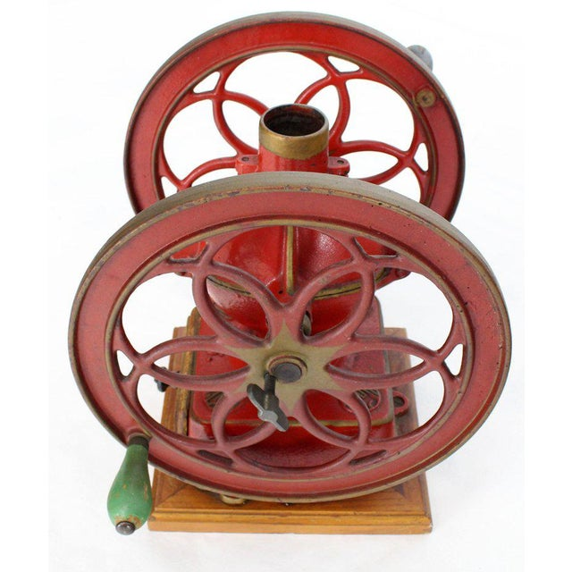 Large Antique Double Cast Iron Wheel Coffee Grinder Fire Red Very Clean For Sale - Image 11 of 12