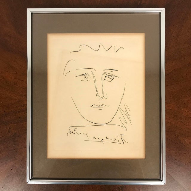 "1960s Vintage Pablo Picasso ""Pour Robie"" Signed Original Etching Print For Sale - Image 9 of 9"