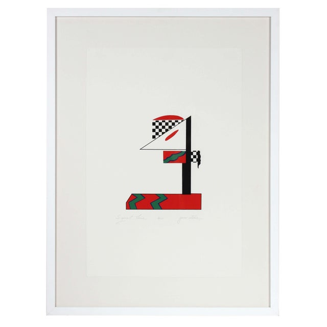"""1970s Gwen Stone """"Signal Three"""", 1978 Checkered Abstract Serigraph in Red, Green, Black and White 1978 For Sale - Image 5 of 5"""