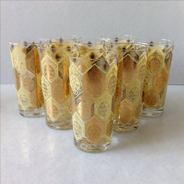 Mid-Century Gold Pineapple Tumblers - Set of 8 - Image 2 of 9
