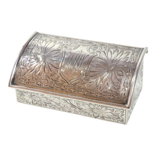Antique Sterling Silver Postage Stamp Box Circa 1914 For Sale