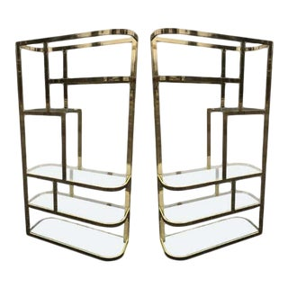1970's Hollywood Regency Brass and Glass Etageres - A Pair For Sale