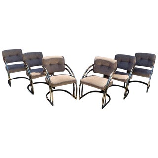 Milo Baughman Style Brass Cantiliver Dining Chairs, Set of 6 For Sale