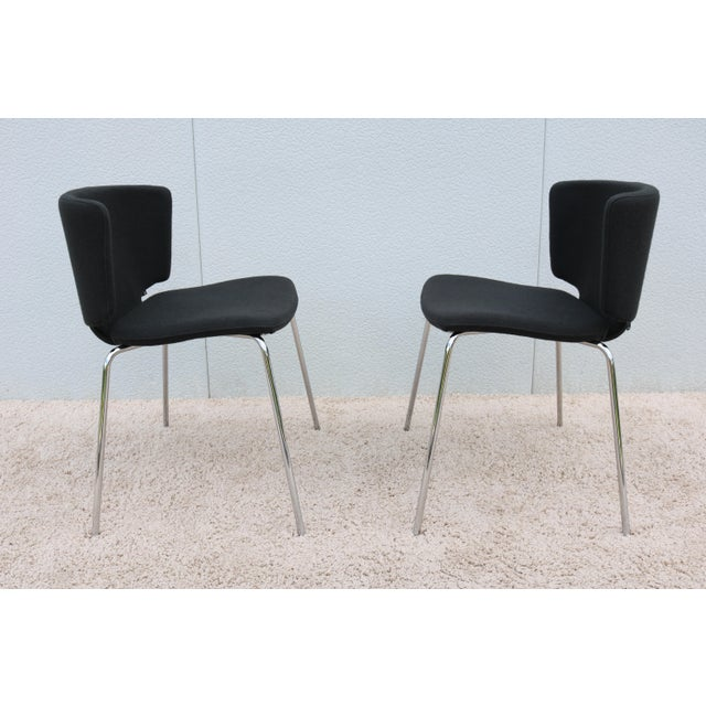 2010s Modern Spain Mark Krusin for Coalesse Wrapp Stackable Black Guest Chair For Sale - Image 5 of 13