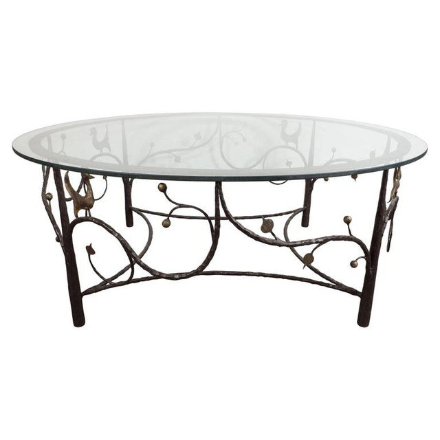 Midcentury Scrolling Bronze Coffee Table with Flora and Fauna Motifs For Sale - Image 10 of 10