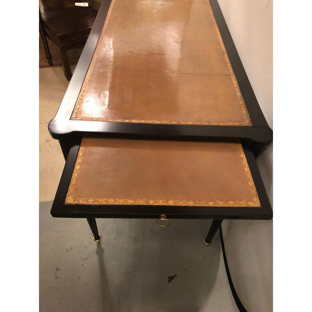 Maison Jansen Ebony Louis XVI Inspired Ebonized Leather Top Bronze-Mounted Desk For Sale - Image 4 of 10