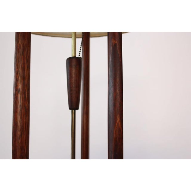 Mid-Century Modeline Stained Walnut and Brass Floor Lamp - Image 3 of 8