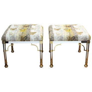 1970s Vintage Hunt Slonem Upholstery Maison Jansen Hollywood Regency Benches- A Pair For Sale