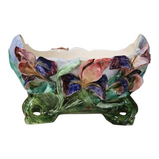 French Hand-Painted Barbotine Floral Cache Pot For Sale