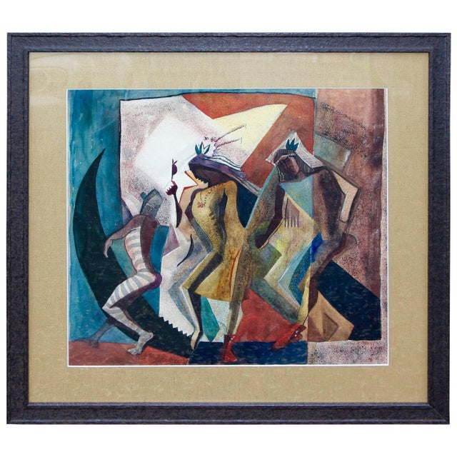 "Paper Lloyd Moylan ""Dancers"" Painting, 1930s-1940s For Sale - Image 7 of 7"