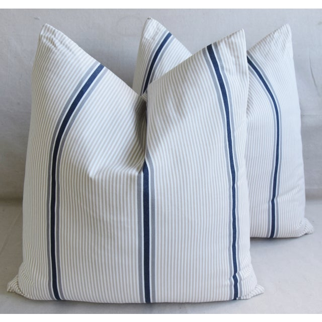 """Cotton French Blue/Gray/Tan/White Striped Ticking Feather/Down Pillows 23"""" Square - Pair For Sale - Image 7 of 12"""