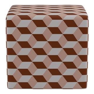 Cube Ottoman in Blush Copper Cube For Sale