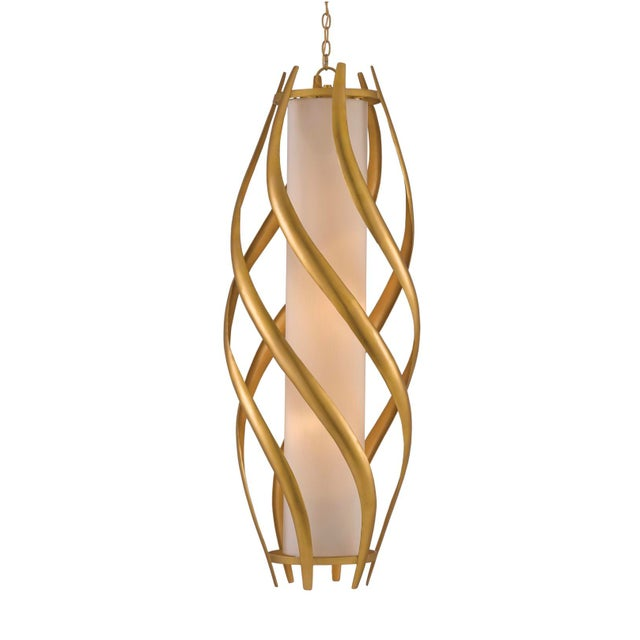 2010s Currey & Co. Modern Gold and White Trephine Pendant Light For Sale - Image 5 of 5