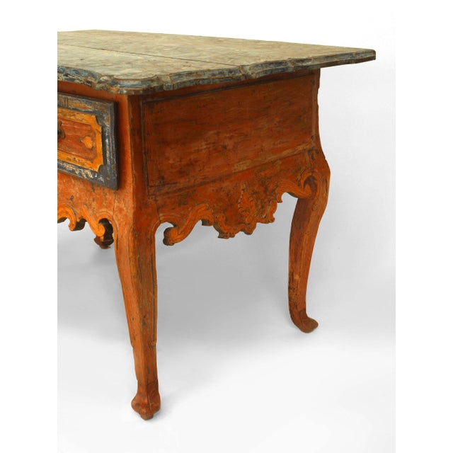 Rustic Continental 'Portuguese' 18th Century Orange and Blue Painted Commode For Sale - Image 4 of 7