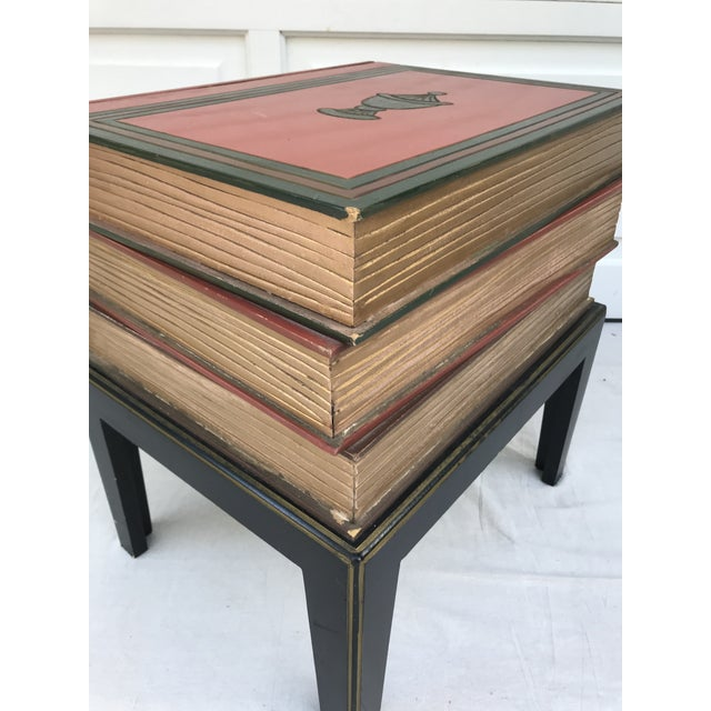 Vintage Figurative Faux Stack of Books Side Table For Sale - Image 4 of 6