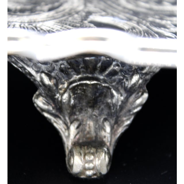Silver French Silver Plate Footed Tray With Ornate Scrolls and Engravings For Sale - Image 8 of 10