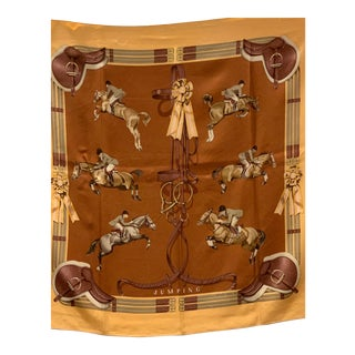 "Hermès Equestrian Themed ""Jumping"" Vintage Silk Scarf For Sale"