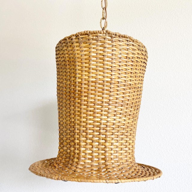 Wicker Top Hat Pendant Light For Sale - Image 10 of 10