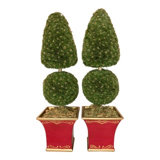 Late 20th Century Painted Topiaries - a Pair