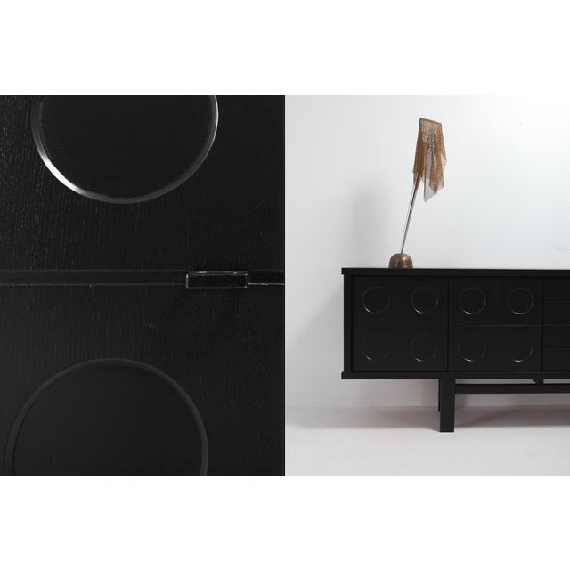 Wood Black Brutalist Credenza With Floating Effect For Sale - Image 7 of 8