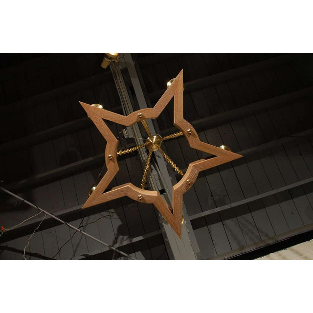 Paul Marra Star Chandelier in Oak For Sale - Image 9 of 10