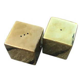Brass Salt & Pepper Shaker Cubes - a Pair For Sale