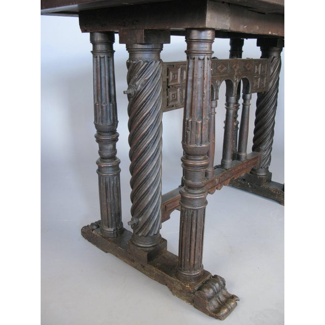 Wood Early 18th Century Italian Library Table For Sale - Image 7 of 9