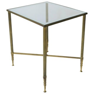 Midcentury Italian Brass and Glass Side Table in the Directoire Style For Sale
