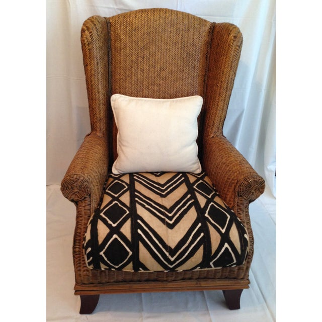 Fabulous, oversized vintage Padma Plantation chair with distinctive African batik cushion set on turned-out mahogany legs....