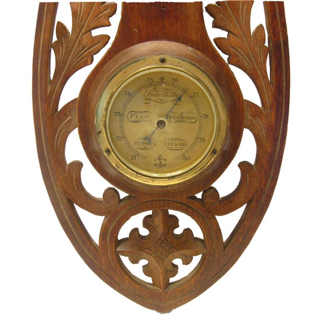 Black Forest French Brass & Carved Wood Barometer For Sale - Image 3 of 4