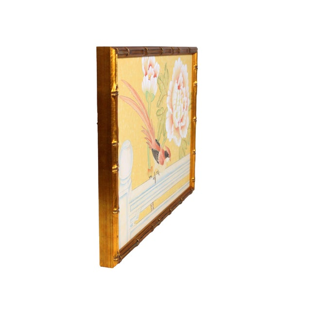Newly framed in an antique gold solid wood moulding carved to resemble bamboo and hand-gilt. Vintage Chinoiserie painting...