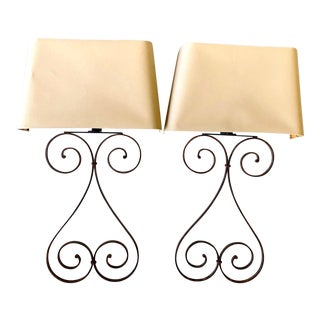 Vintage Tall Iron Sconces With Custom Half Shade - a Pair For Sale