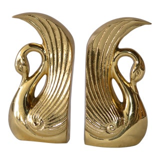 Vintage Art Deco Brass Swan Bookends - a Pair