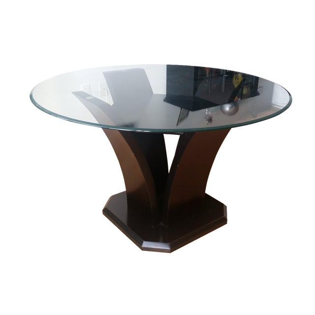 Espresso Glass Dining Table - Image 1 of 4