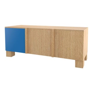 Contemporary 101C Storage in Oak and Blue by Orphan Work, 2020 For Sale