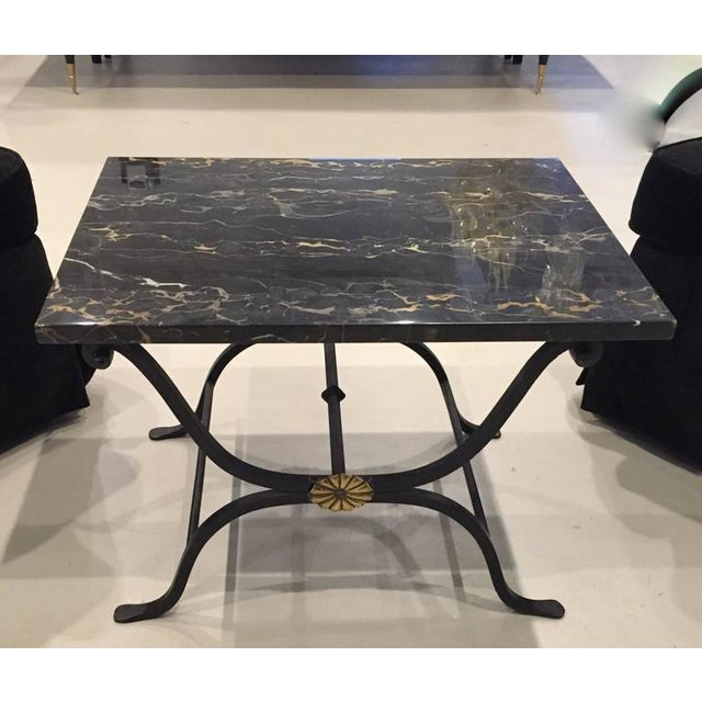 French Art Deco Wrought Iron and Portoro Marble Table For Sale - Image 4 of 4