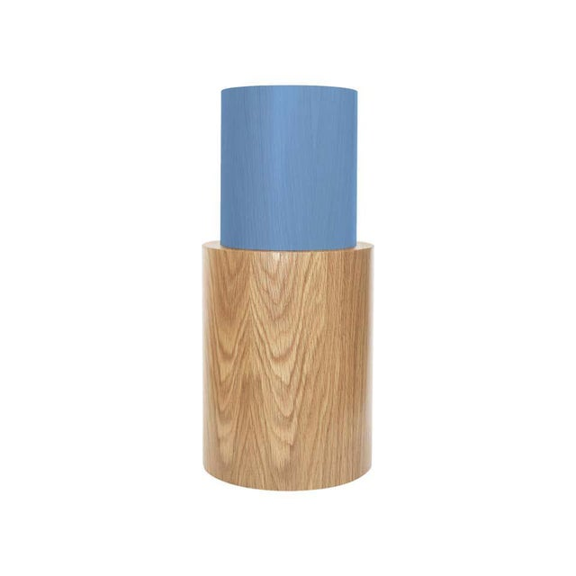 Postmodern Contemporary 100C Side Table in Oak and Blue by Orphan Work, 2020 For Sale - Image 3 of 3