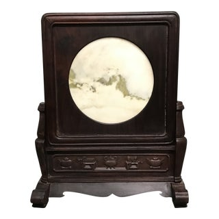 Chinese Art Dream Stone Table Screen With Wood Frame For Sale