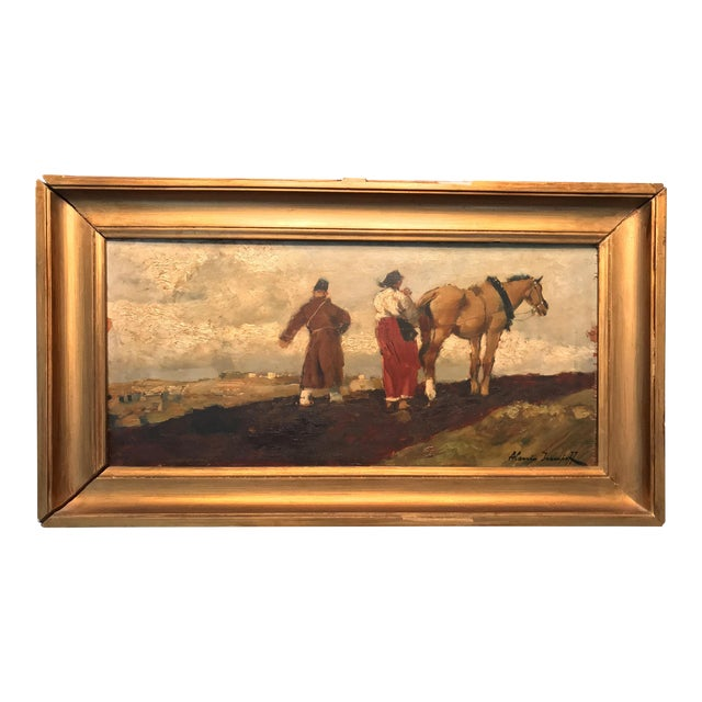 Early 20th Century Antique Alessio Issupoff Russian Peasant Scene Oil on Panel Painting For Sale