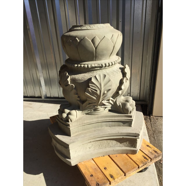 Carved Stone Claw Foot Pillar Base - Image 3 of 9