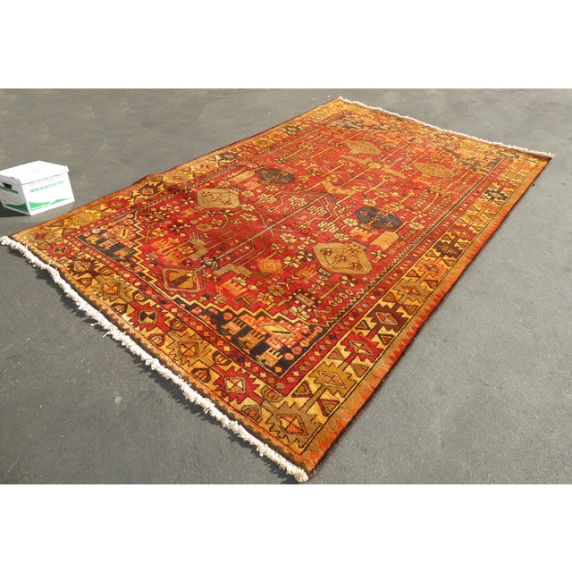 "Vintage Turkish Geometric Pattern Red & Orange Rug - 9'8"" X 6' - Image 11 of 11"