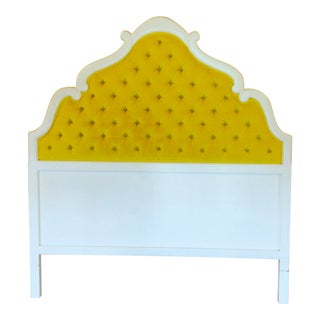 Tufted Yellow Velvet Full/Queen Headboard For Sale